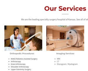 capture of Kansas Surgery and Recovery Center's website featuring photos by Greywood Photography.