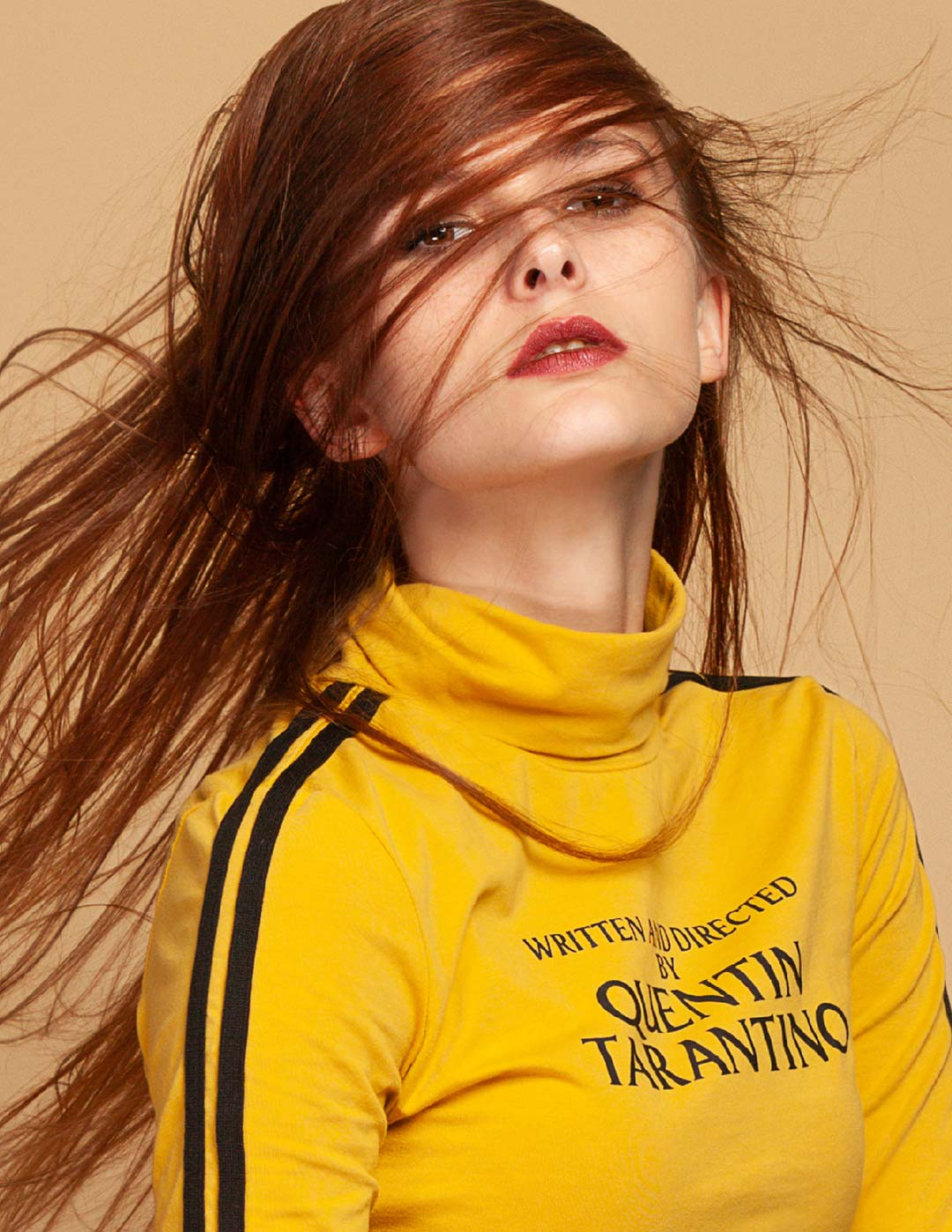 Jade Trisdale eye contact while flinging hair shot for Models & Images, Wichita Kansas