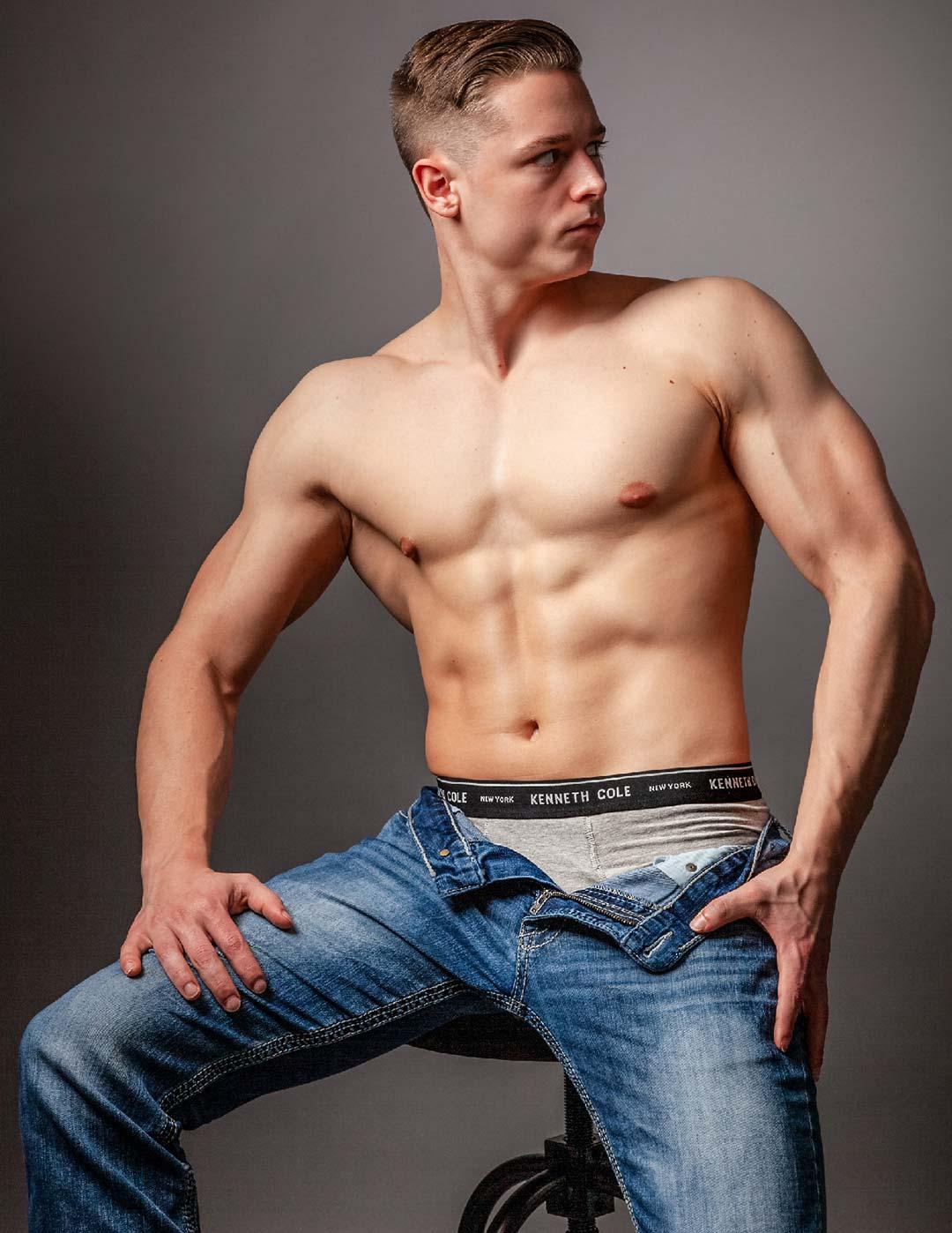 Fitness model Rich Melton modeling Kenneth Cole men's underwear