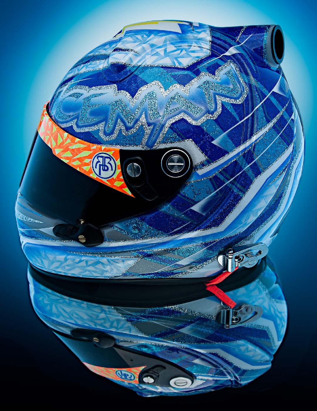 Styled reflection of custom racing helmet