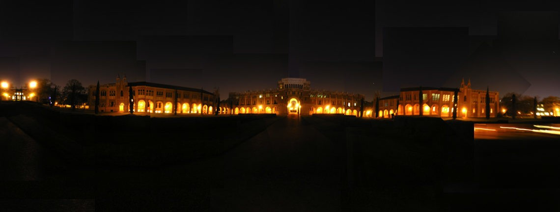 Rice University at night